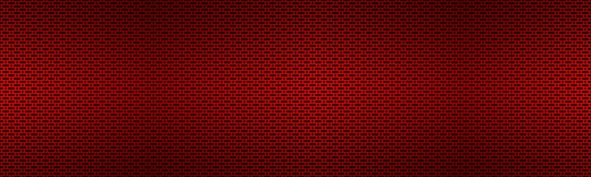 Perforated red metallic header. Metal texture banner. Simple texnology illustration. Circle, rounded rectangle and oval perforated vector