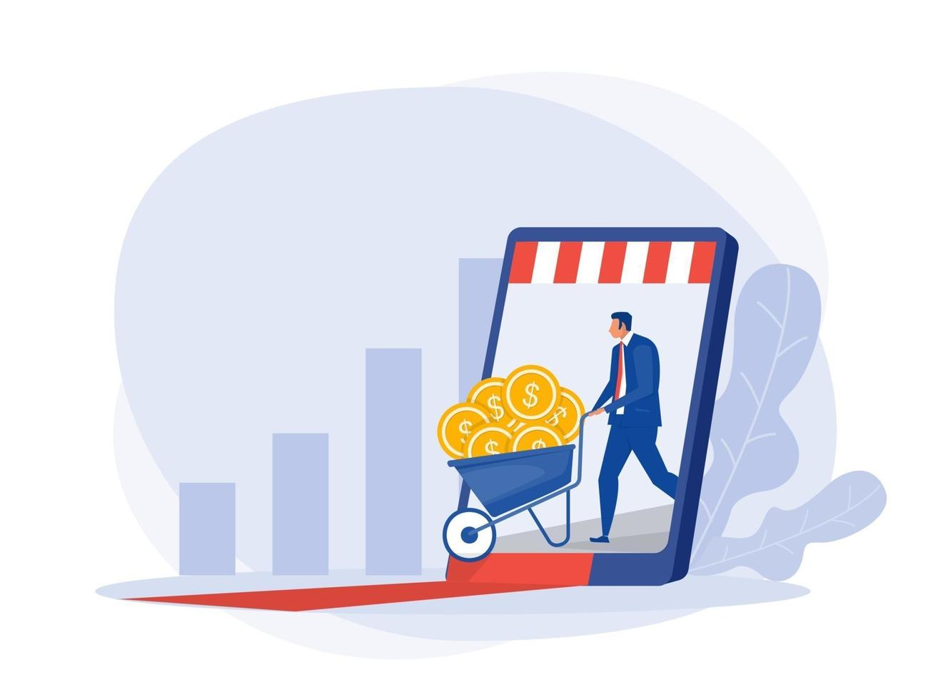 businessman get profit online from smartphone ,screen sitting on money and coins. Finance success, money wealth concept. vector
