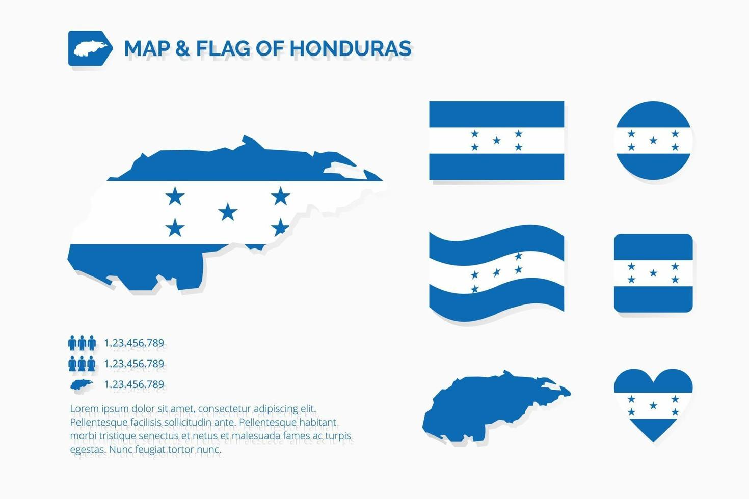 mapa y bandera de honduras vector