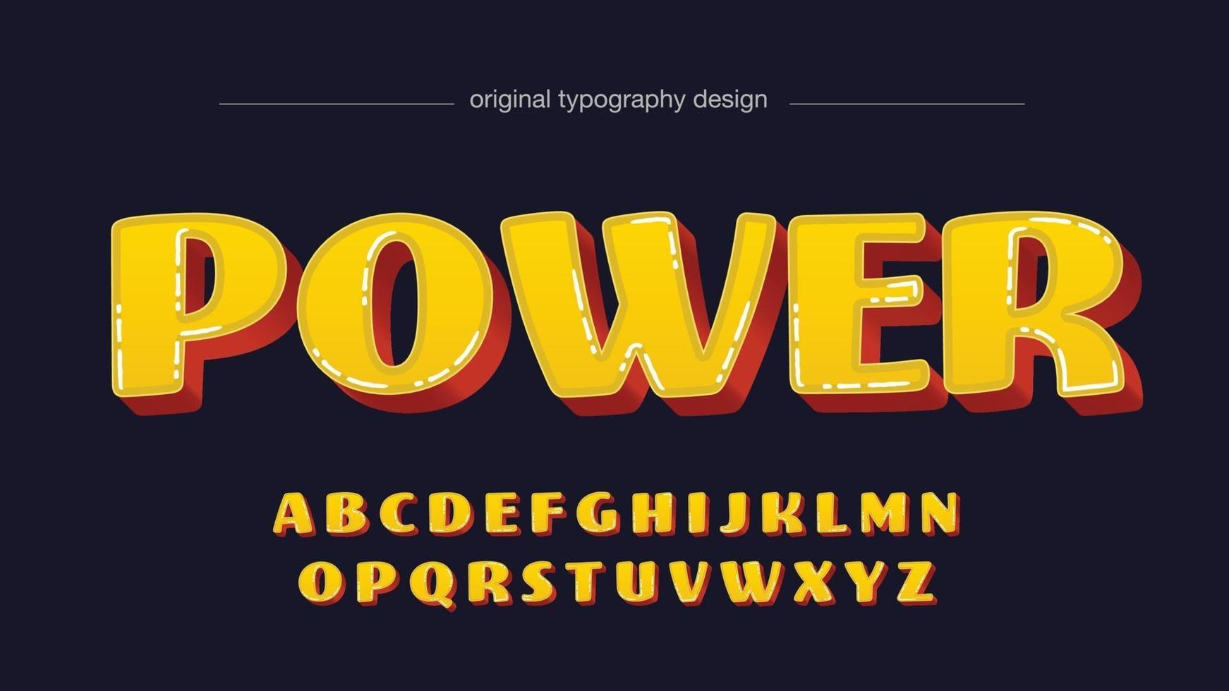 Yellow and Red 3D Cartoon Rounded Isolated Font vector