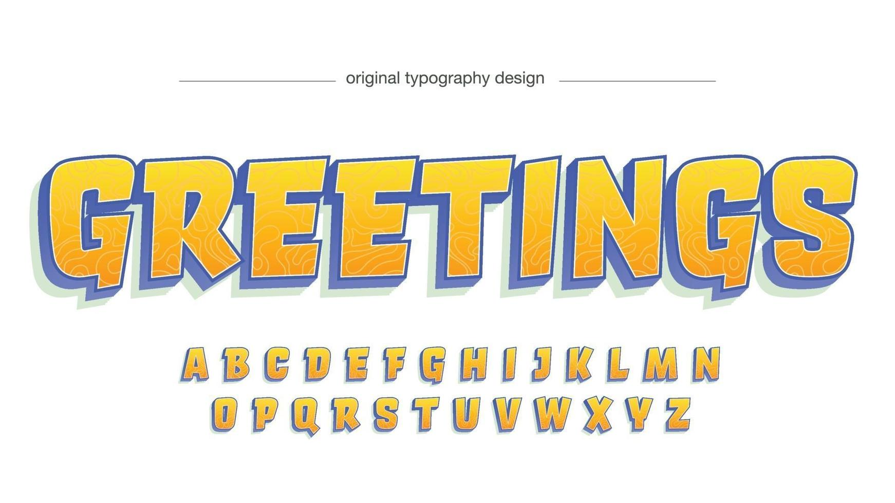 Orange and Blue Modern Cartoon Isolated Typography vector