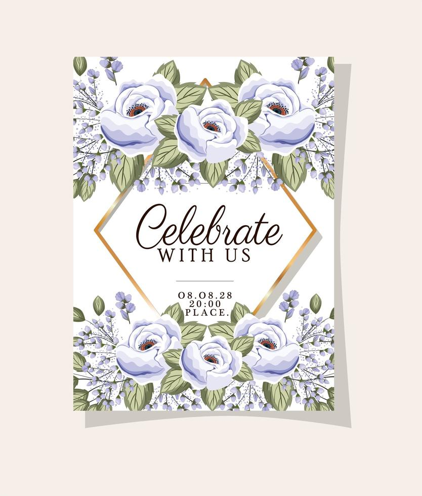 Wedding invitation with gold frame rose flowers and leaves vector design