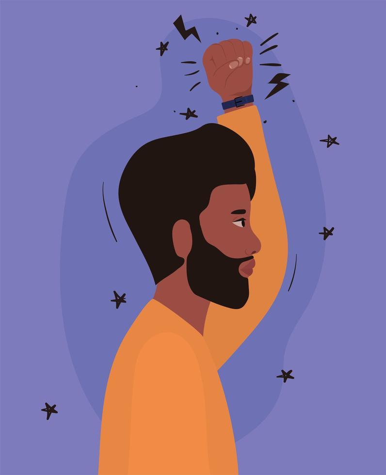 hombre con barba negra y puño hacia arriba de perfil vector