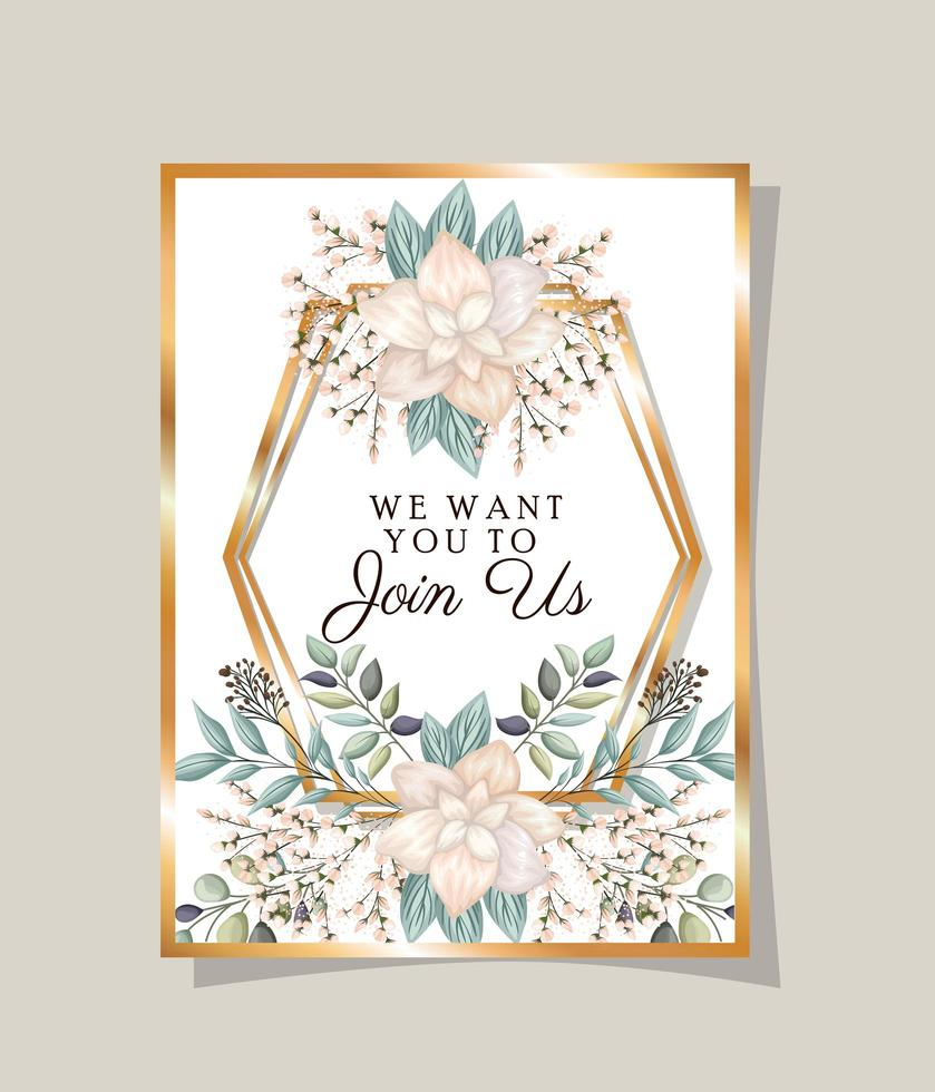 Wedding invitation with gold frame flowers and leaves vector design