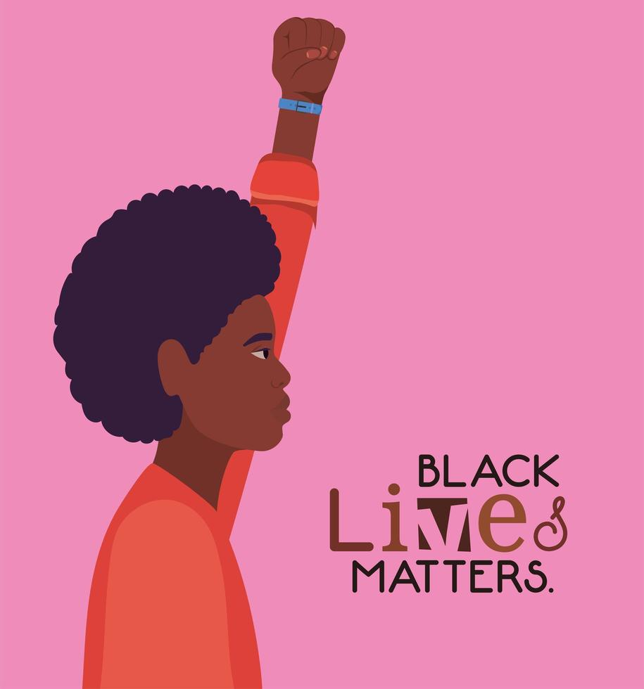 Black afro young man with fist up for black lives matter vector