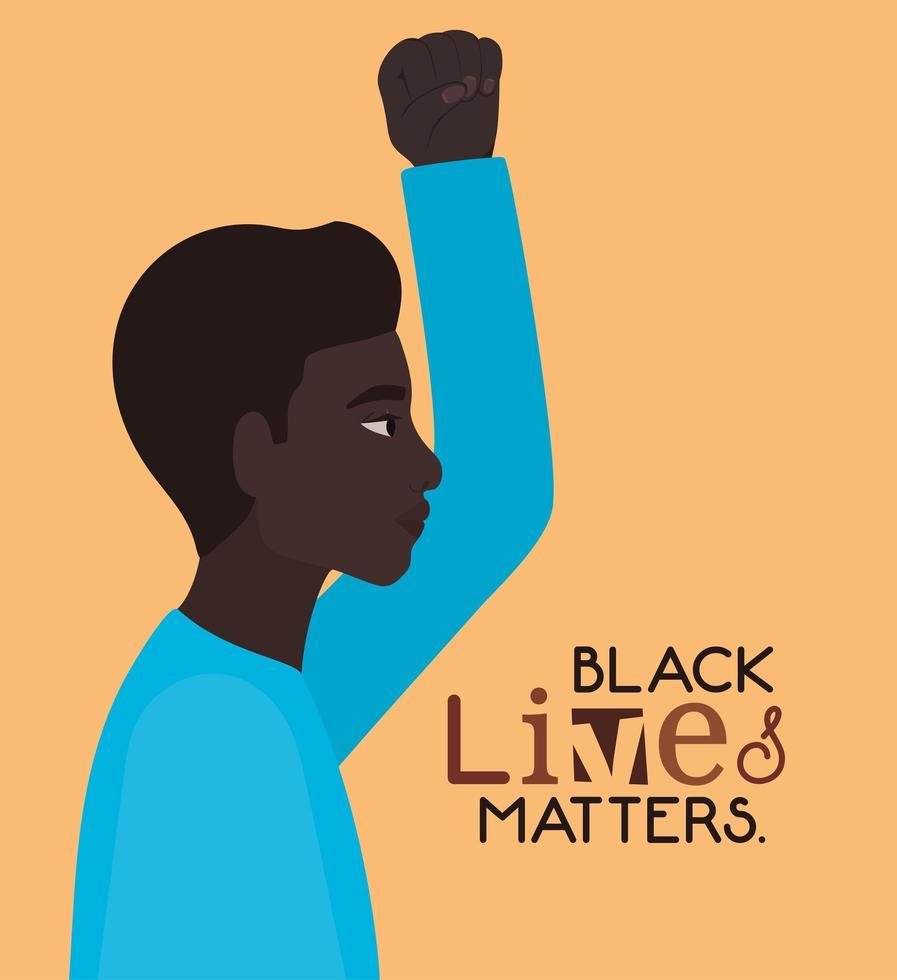 joven afro negro con el puño hacia arriba para que las vidas de los negros importen vector