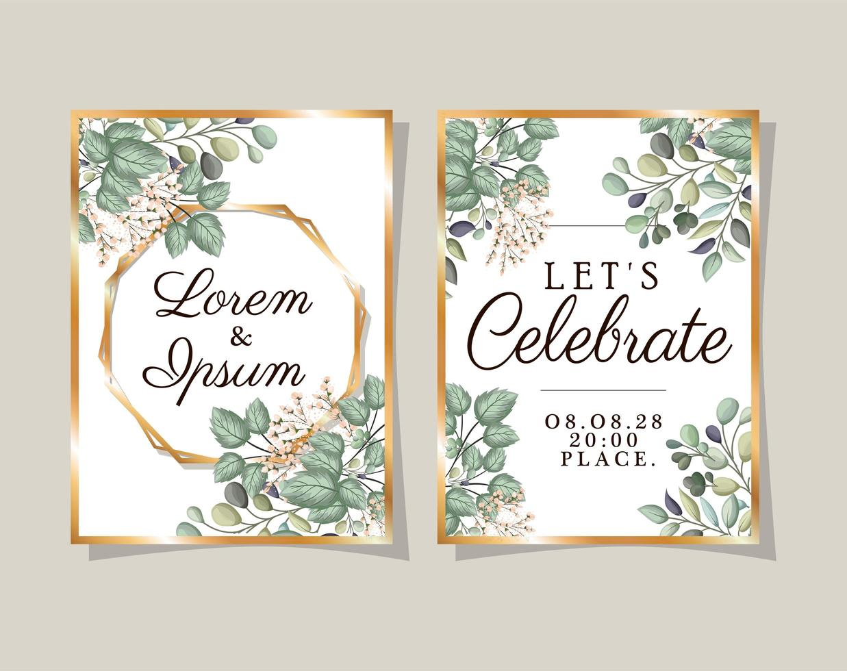 Two wedding invitations with gold frames flowers and leaves vector design
