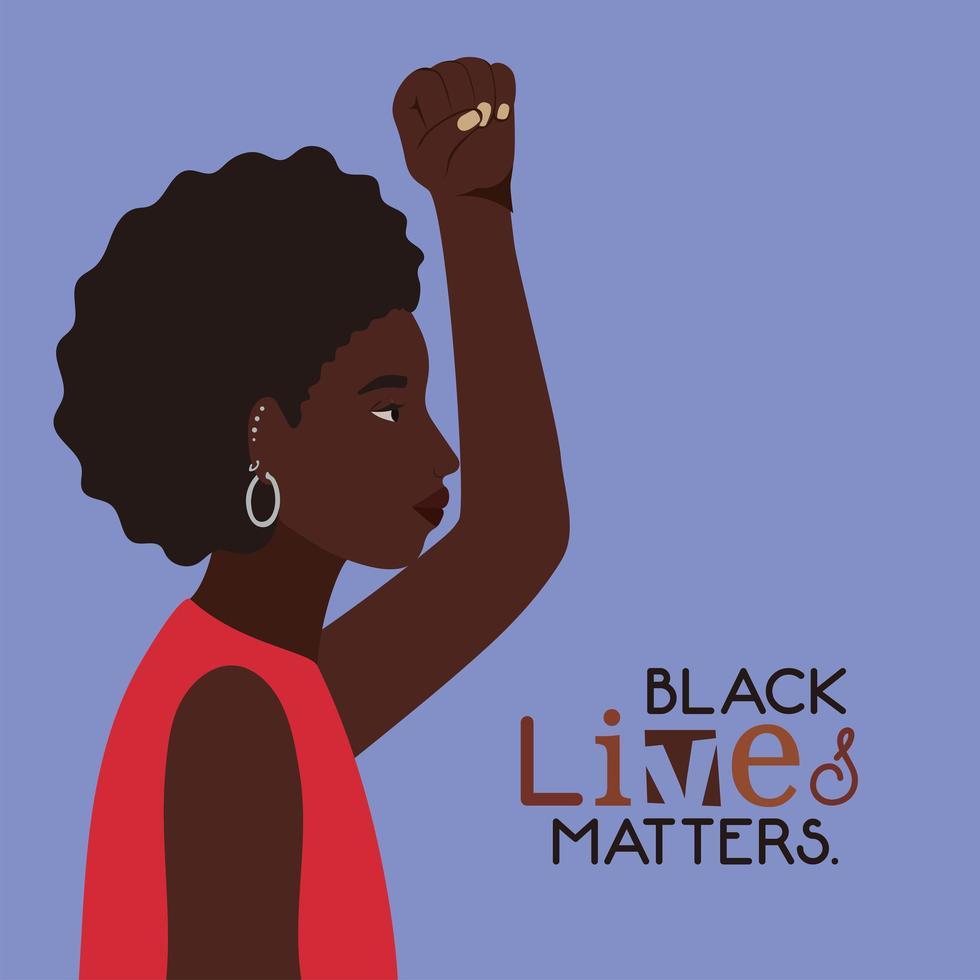 Dibujos animados de mujer afro negra con puño hacia arriba en vista lateral con diseño de vector de texto de vidas negras importa
