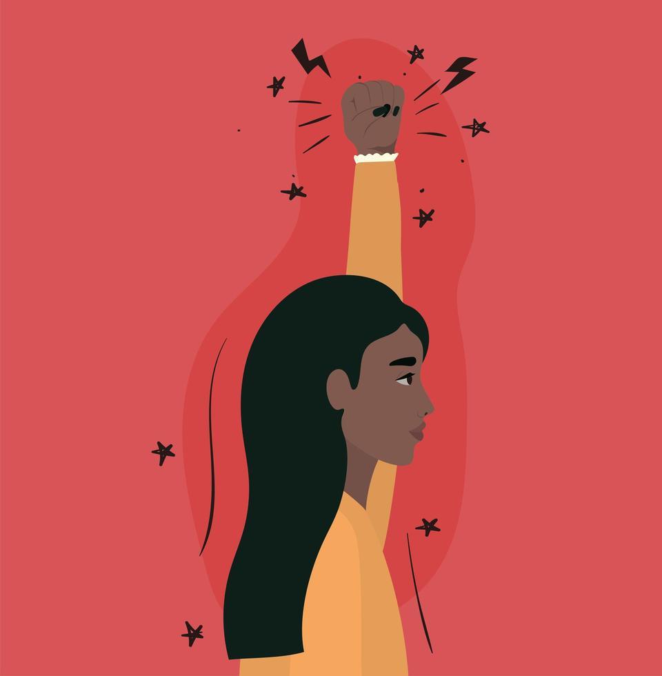 caricatura, mujer india, con, puño arriba, perfil vector