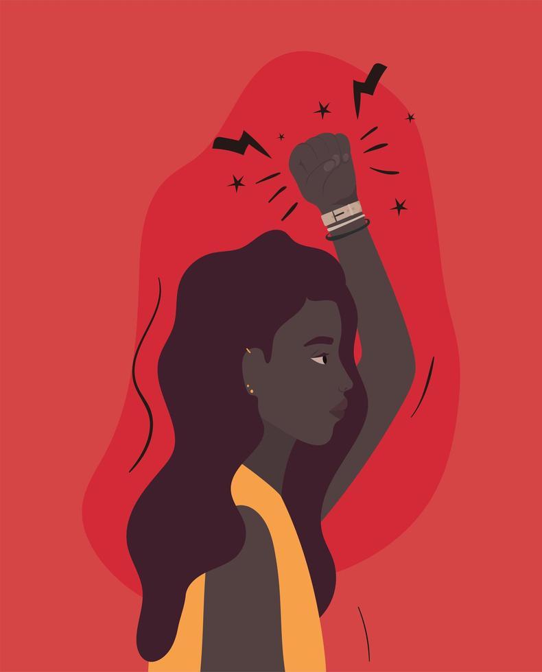 caricatura, mujer negra, con, puño arriba, perfil vector