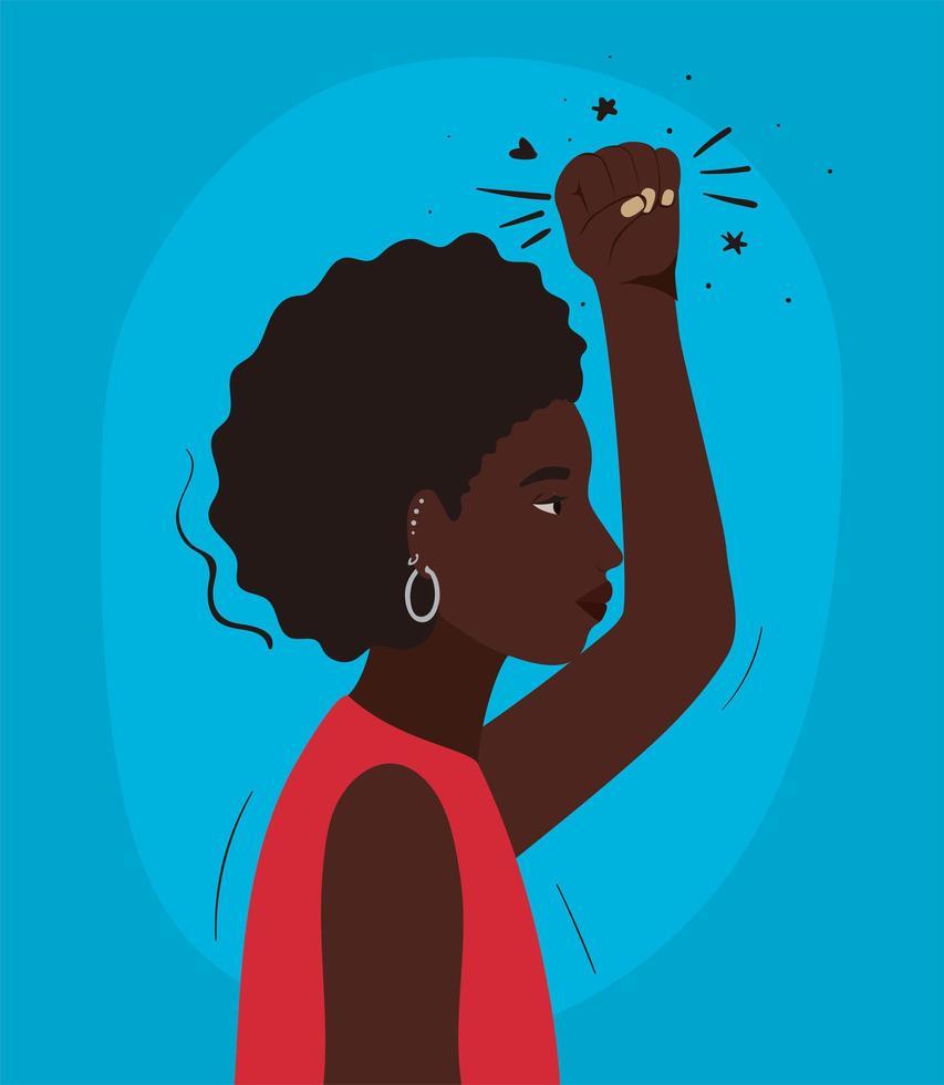 caricatura, mujer negra, con, afro, y, puño, arriba, perfil vector