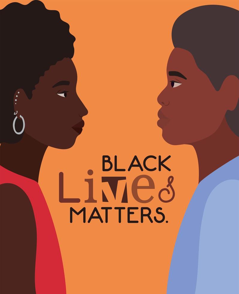 La foto de perfil de mujer y hombre negros para la vida de los negros importa vector