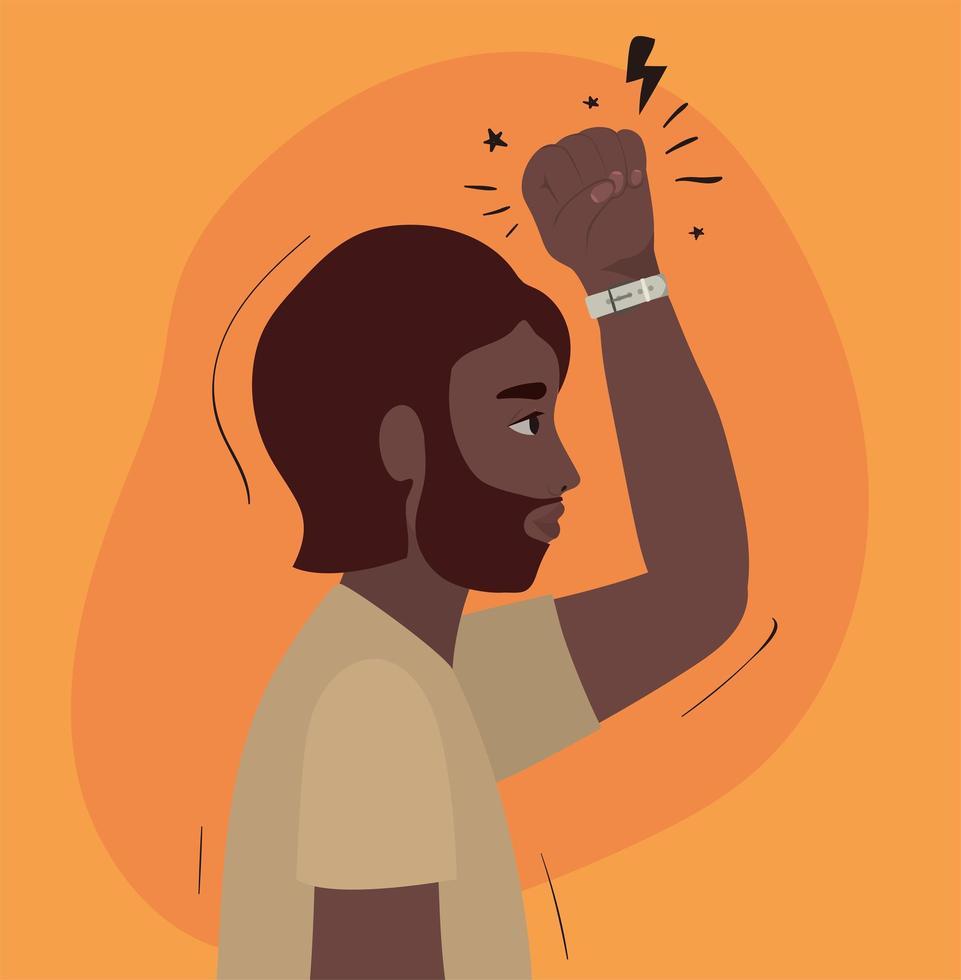 hombre negro con barba y puño hacia arriba de perfil vector