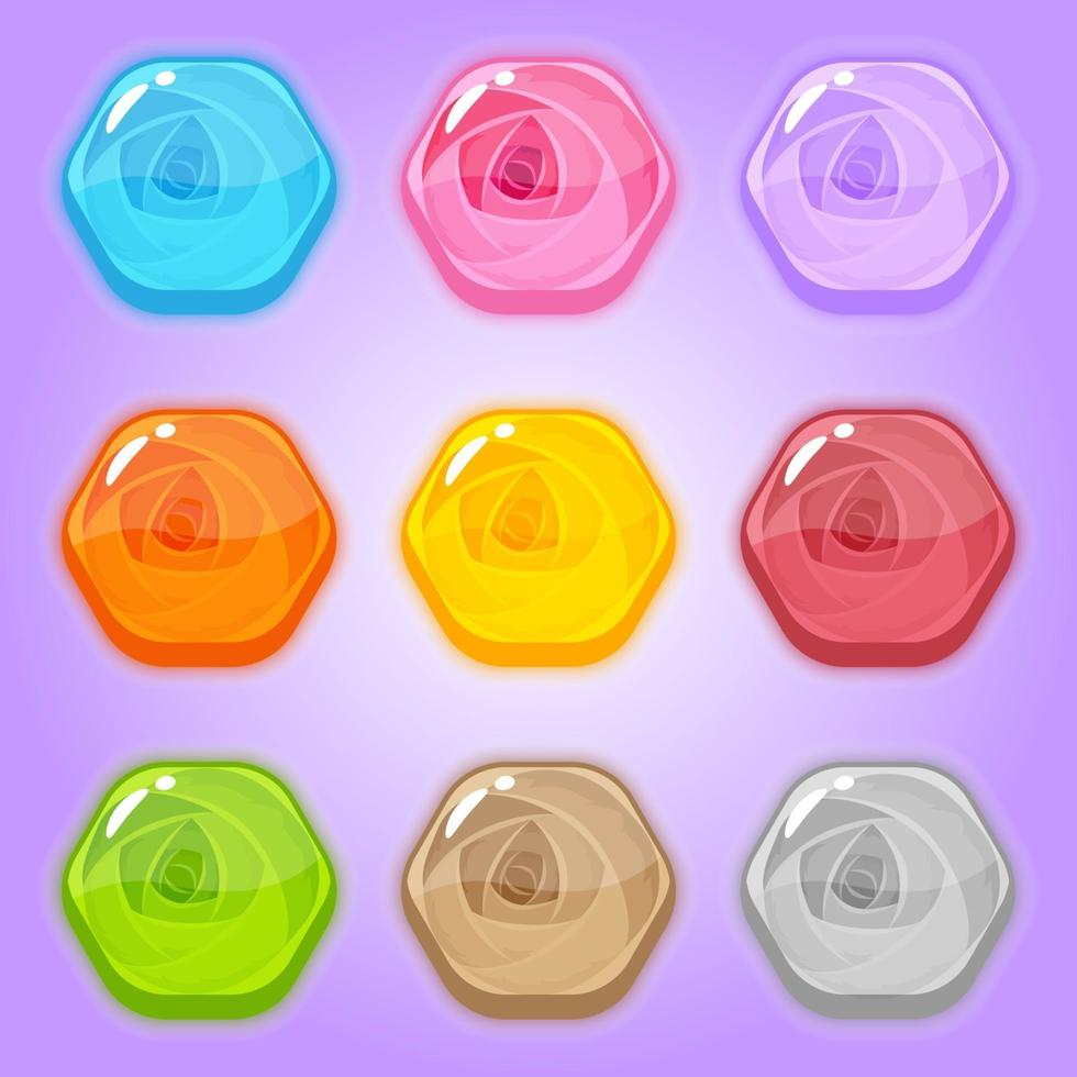 Set sweet icon rose in hexagon shape. vector