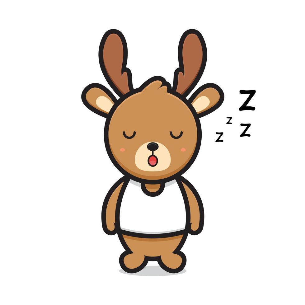 cute deer mascot character sleeping vector