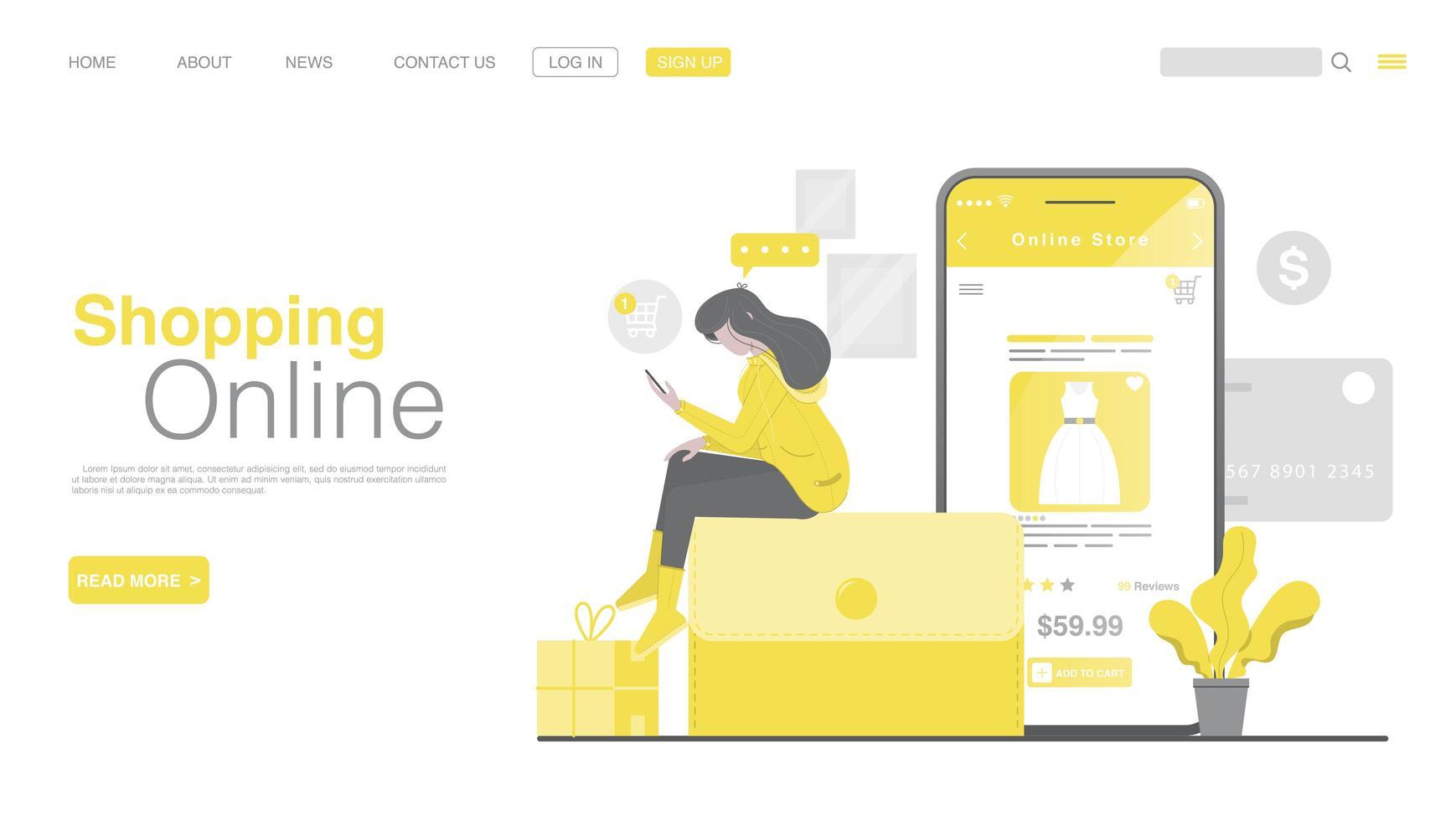compras en línea y pago en línea en el sitio web o aplicación móvil. Página de inicio de pago en línea en estilo plano. vector
