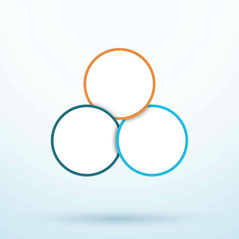 Infographic Three Circle Diagram Linked Segments Template vector