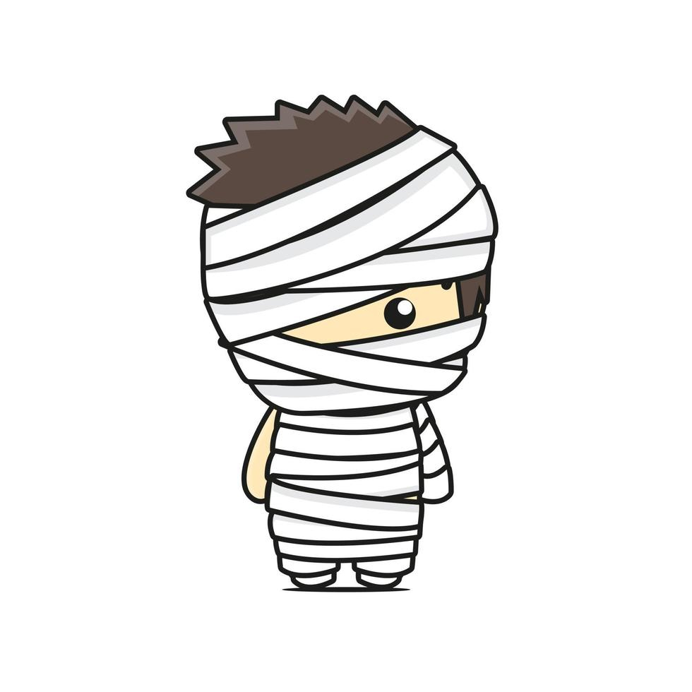 cute mummy mascot character halloween theme vector