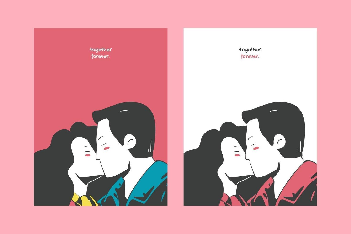 Valentine's day illustrations for cards poster or stickers vector