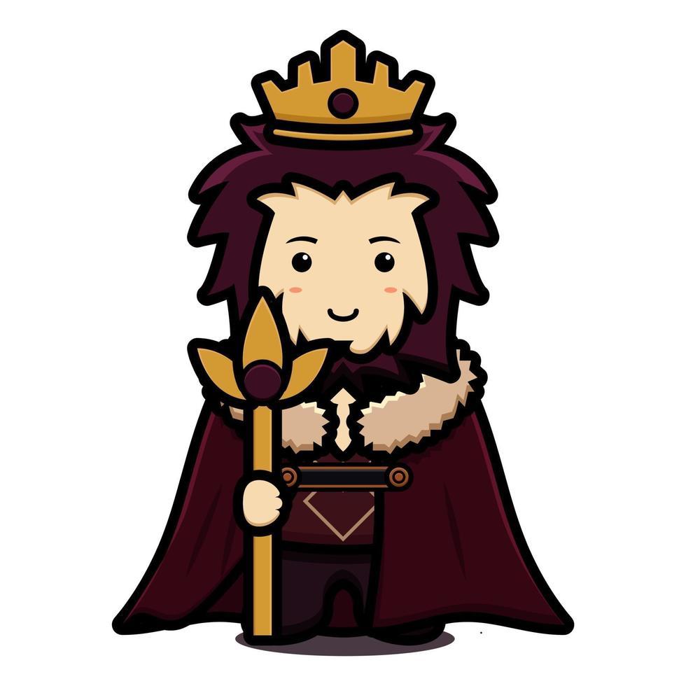 Lindo personaje de mascota rey usa capa y corona y sosteniendo personal dorado ilustración de icono de vector de dibujos animados