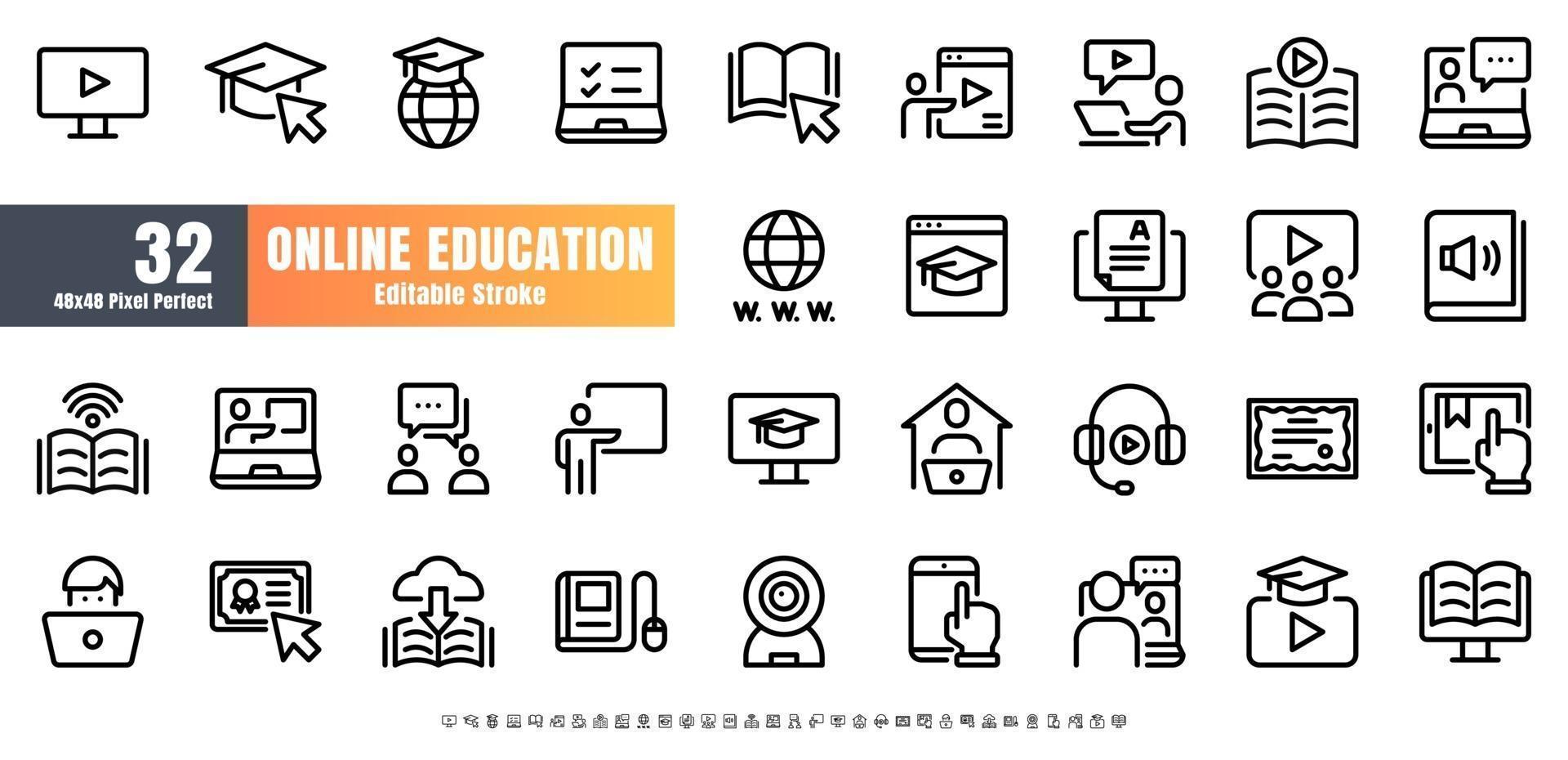 48x48 píxeles perfectos. vector de conjunto de iconos de contorno de línea de educación en línea. trazo editable.