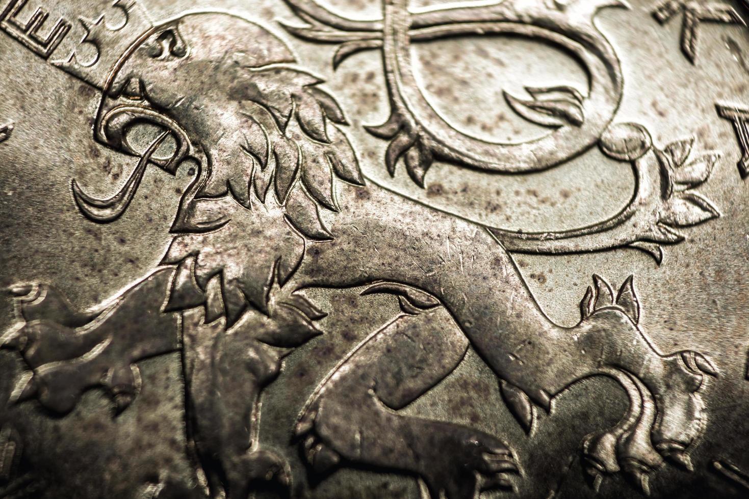 primer plano de la moneda de la corona checa foto