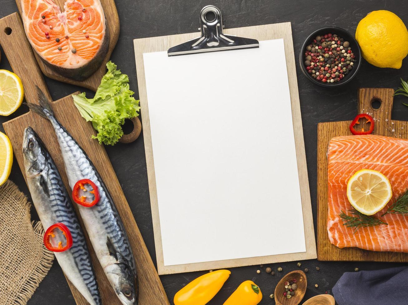 concepto de menú de comida de mariscos foto