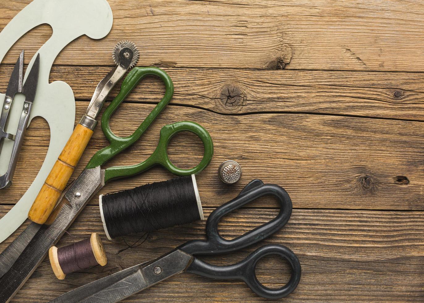 tijeras y articulos de costura foto