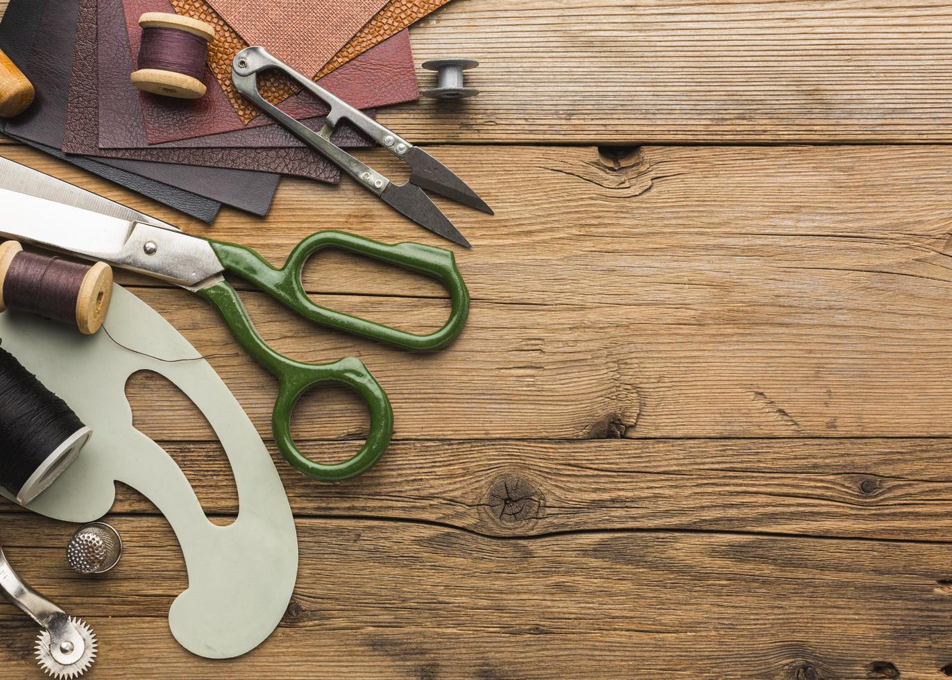 coser artículos y espacio de copia foto