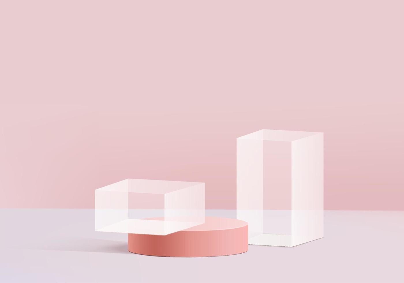 Modern background platform with with pink glass modern. Background vector 3d rendering crystal modern podium platform. stand show cosmetic product. Stage showcase on pedestal modern 3d studio platform