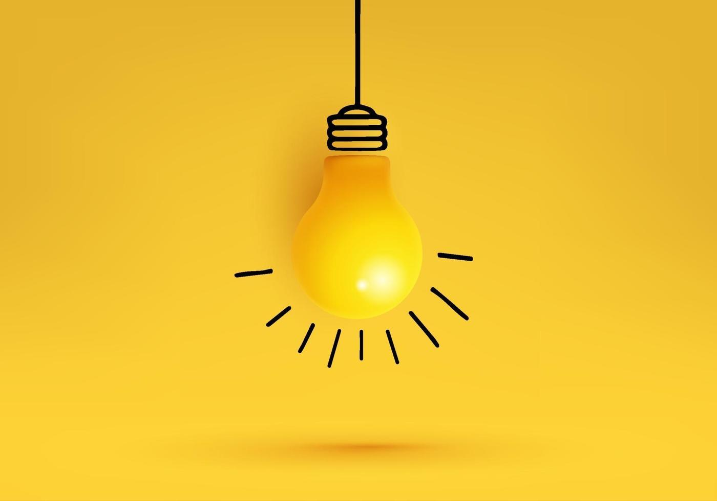Creative idea, Inspiration, New idea and Innovation concept vector with light bulb on Yellow background.