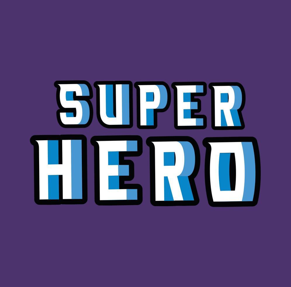 3d super hero lettering on blue background vector design
