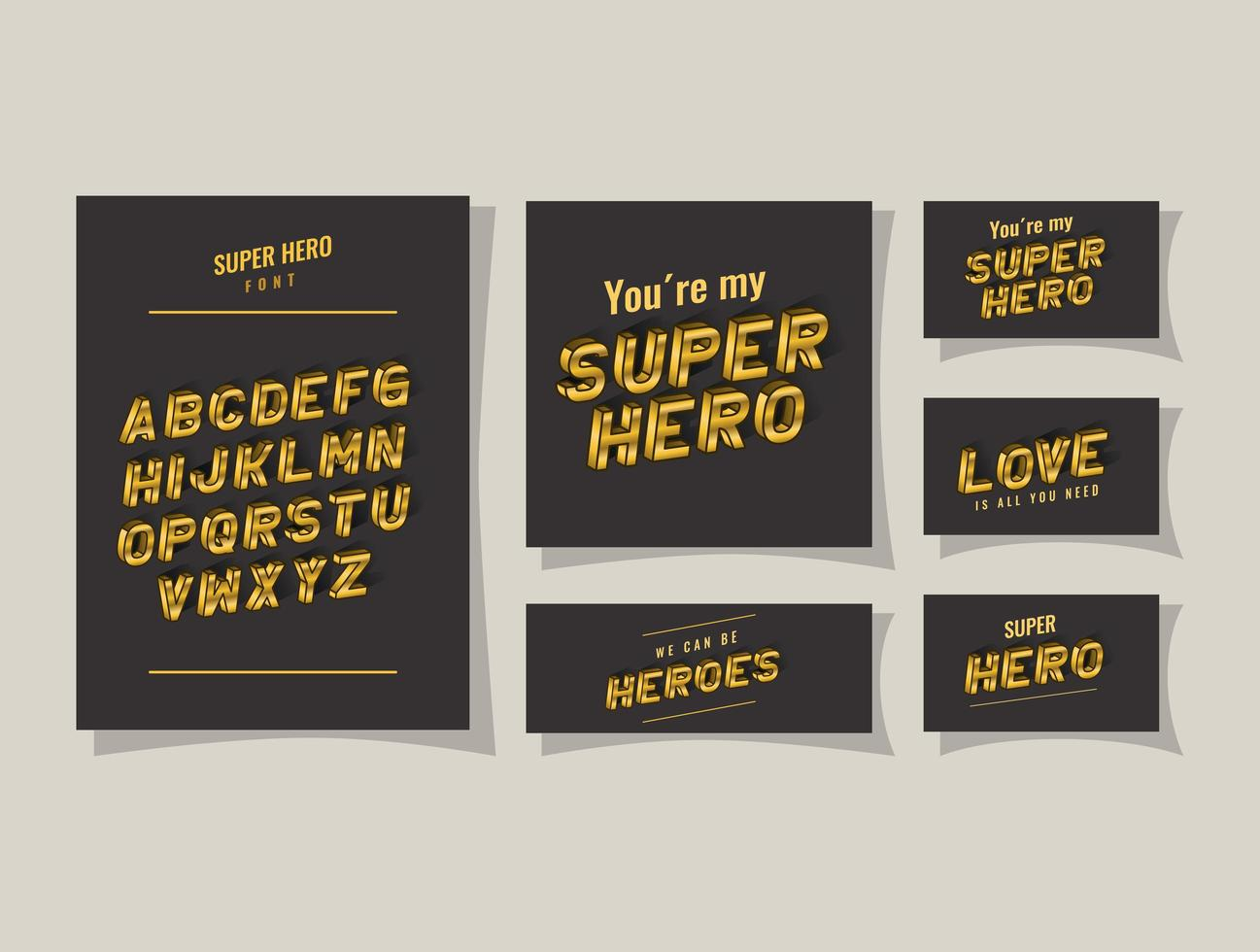 3d super hero lettering and alphabet on gray backgrounds vector design