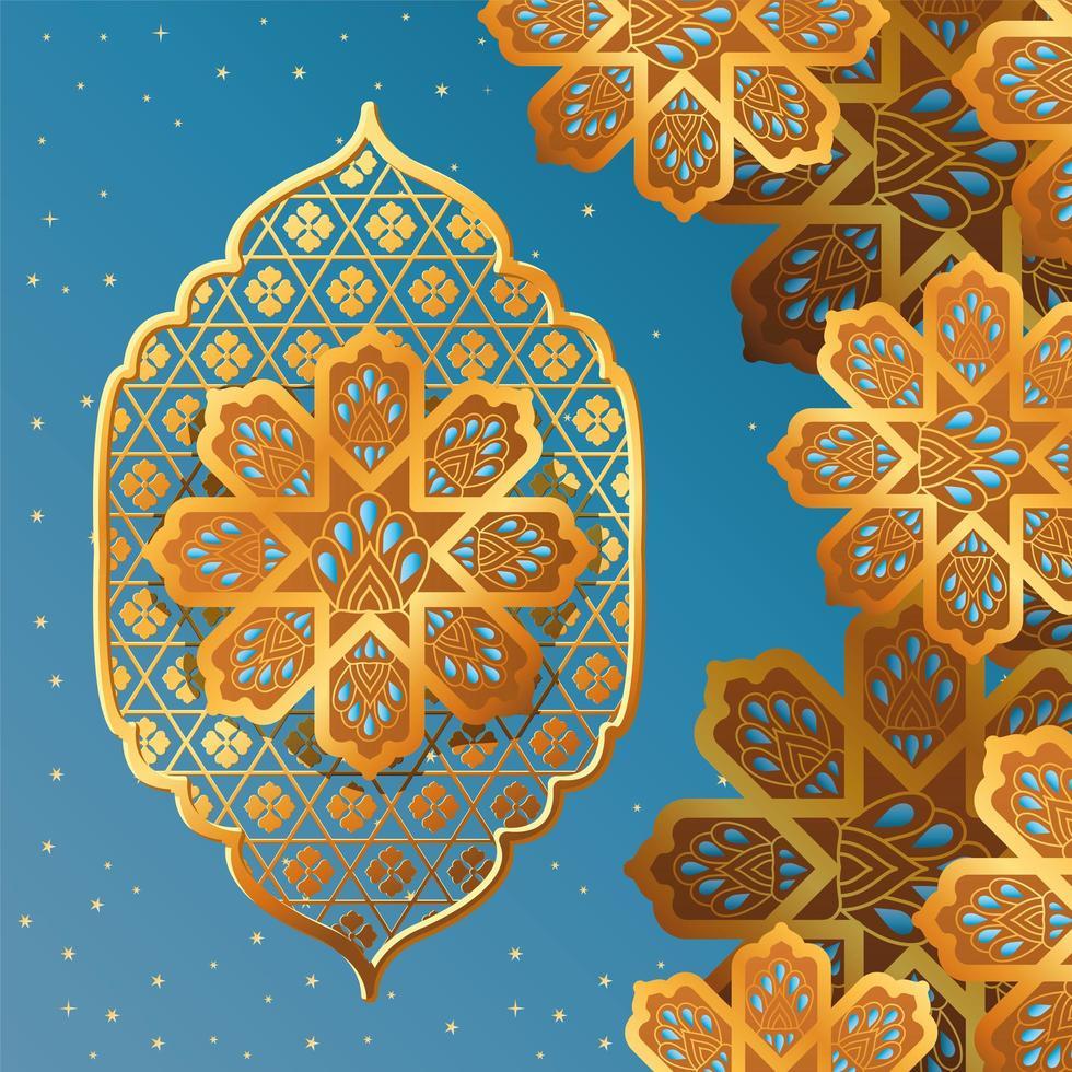gold arabesque flower on blue background vector design