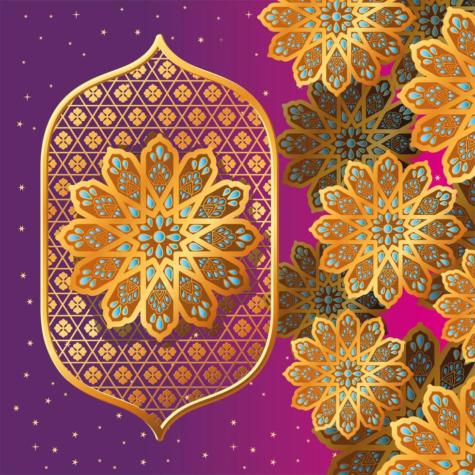 gold arabesque flower on purple background vector design