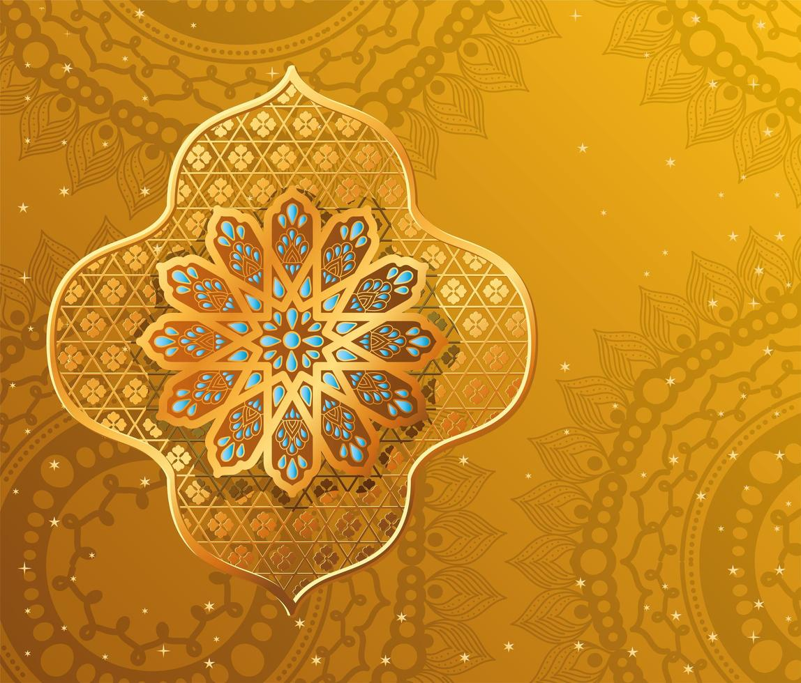 gold arabesque flower on yellow with mandalas background vector design