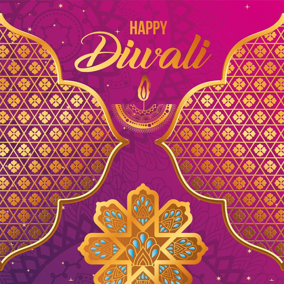 Happy diwali candle gold arabesque flowers and frames on pink and purple gradient background vector design