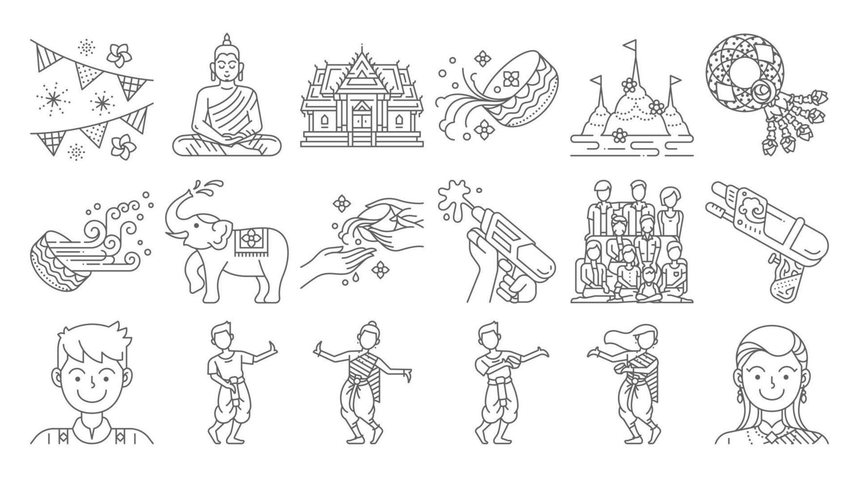 Songkran thailand festival linear icon set vector