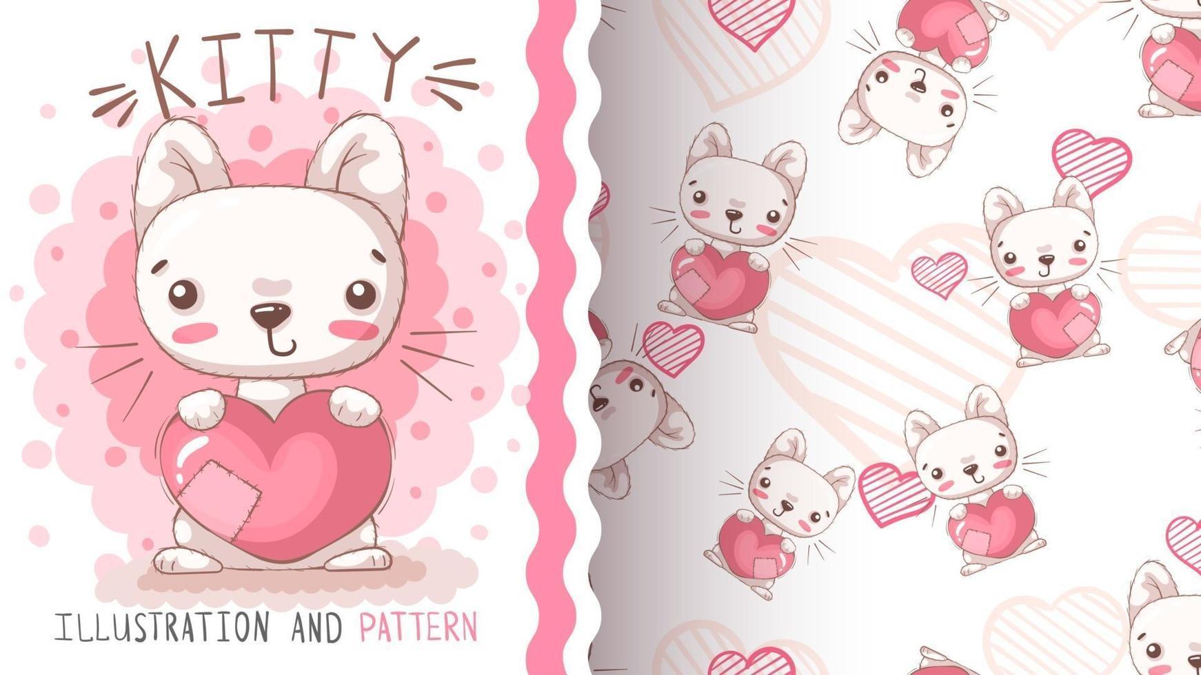 Beauty cartoon character animal cat vector
