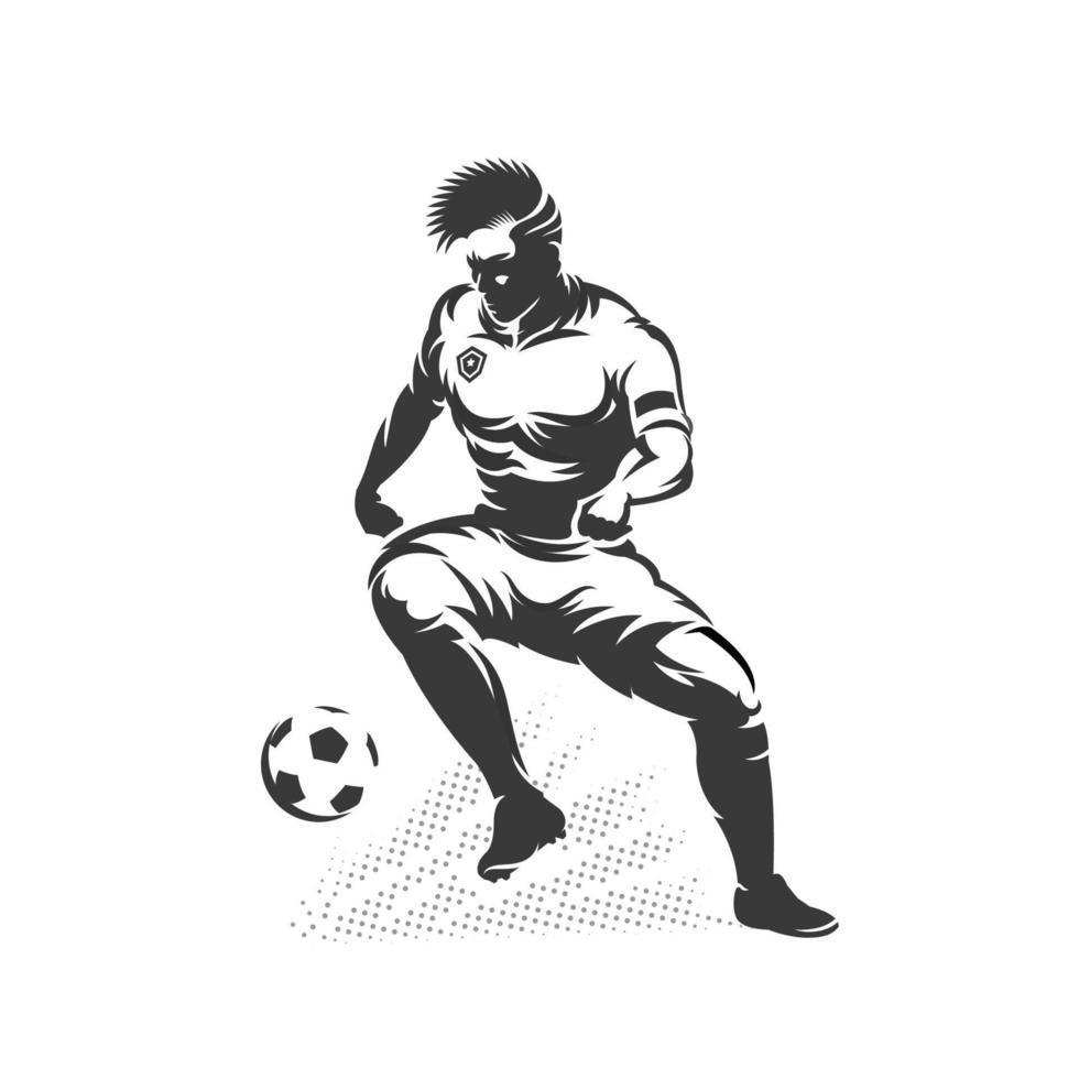 silueta, jugador de fútbol, regate vector