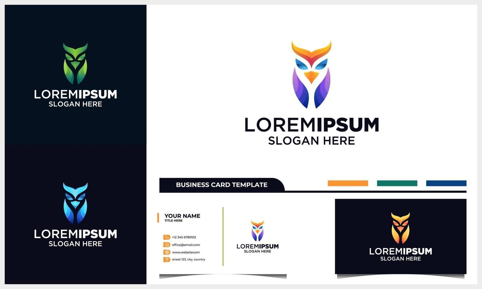 Owl full color logo concept illustration template and business card template vector