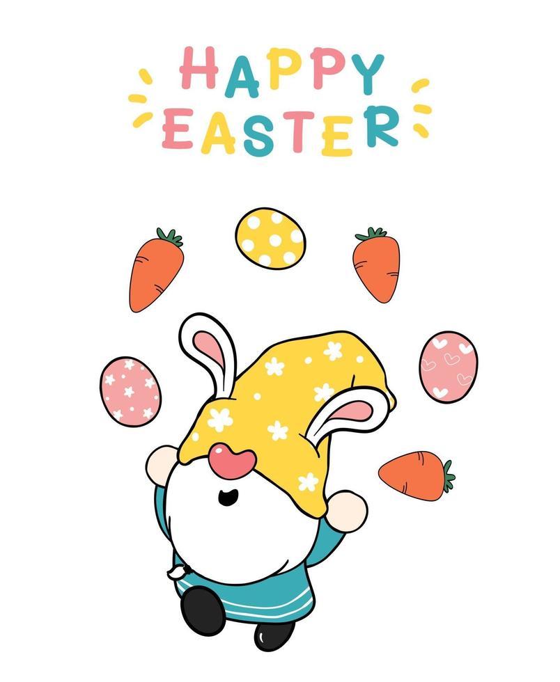 lindo pascua gnomo orejas de conejo dibujos animados haciendo huevos de pascua malabares, felices pascuas, lindo doodle dibujos animados vector primavera pascua clip art