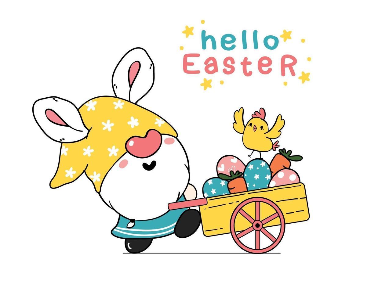 Cute dibujos animados de orejas de conejo de gnomo de pascua y bebé pollito amarillo en carro de camión rosa con huevos de pascua. feliz pascua, lindo, garabato, caricatura, vector, primavera, pascua clip art vector
