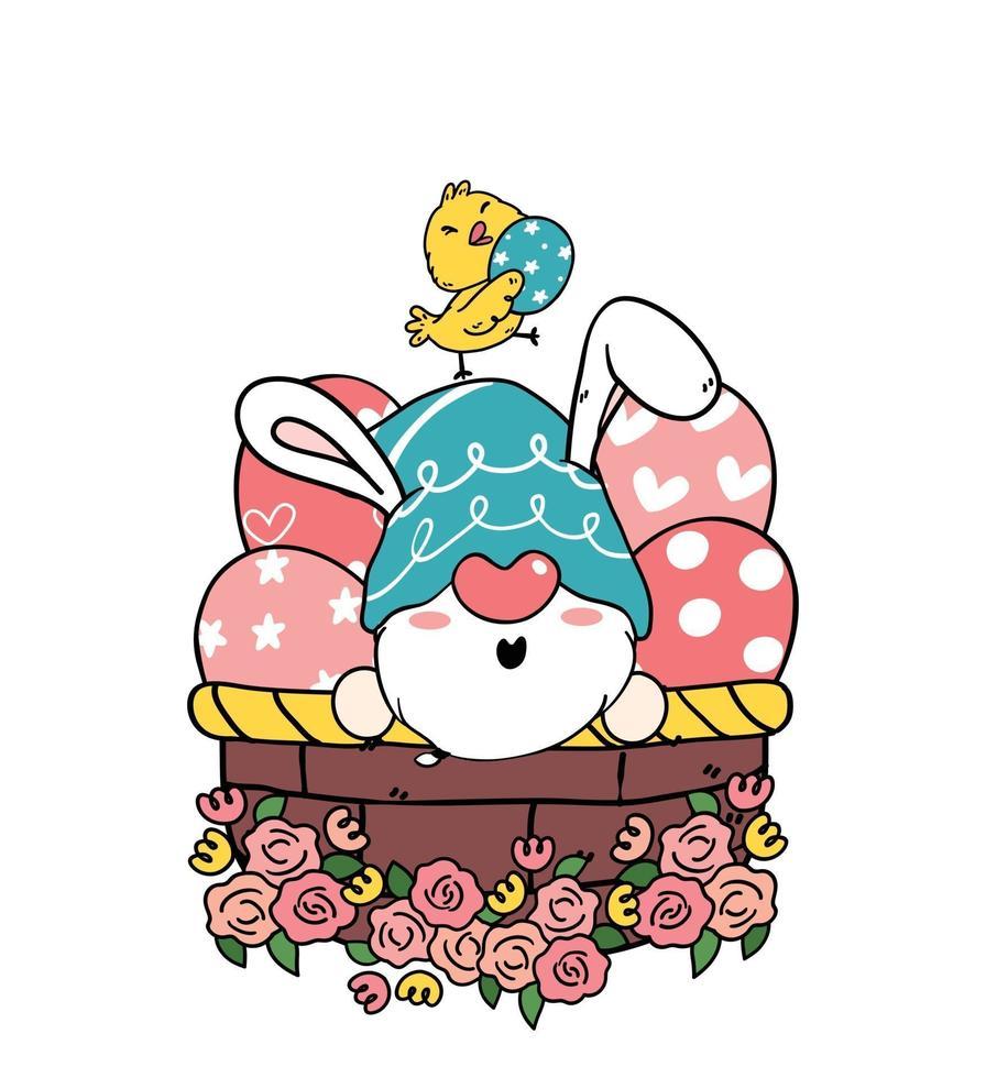 Cute dibujos animados de orejas de conejo de gnomo de pascua y bebé pollito amarillo en canasta de huevos de pascua. feliz pascua, lindo, garabato, caricatura, vector, primavera, pascua clip art vector