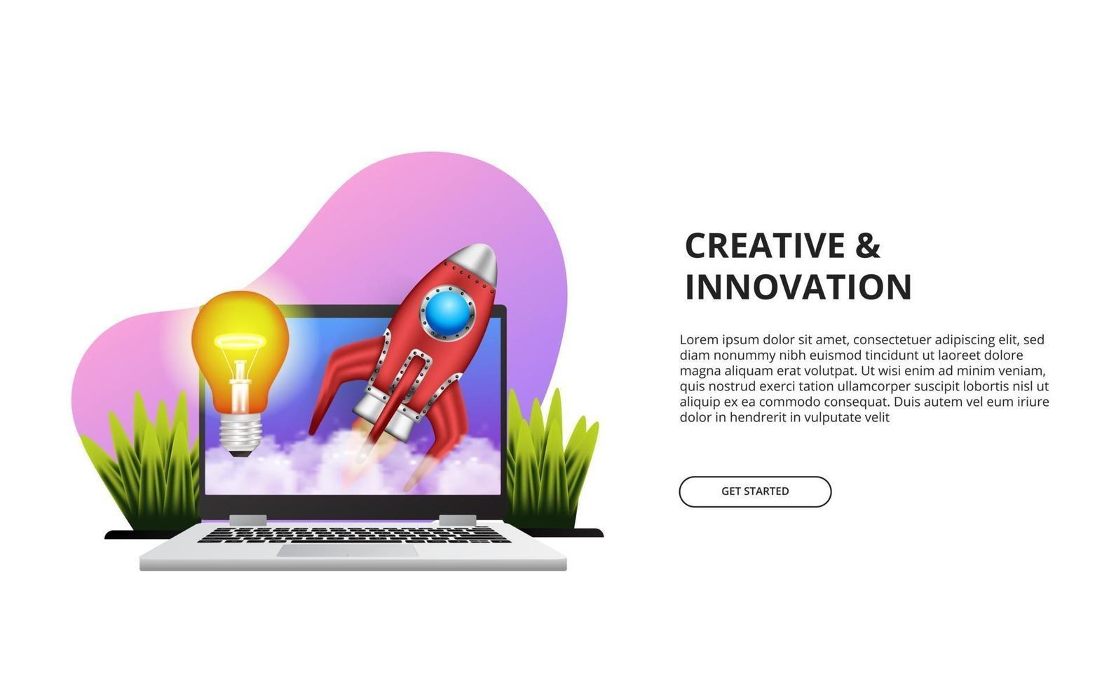Start up creative innovation concept with illustration of laptop, rocket, light. vector