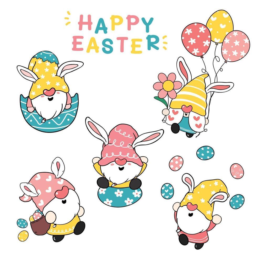 lindas orejas de conejo gnomo felices pascuas pasteles dibujos animados garabatos ilustración colección de imágenes prediseñadas vector