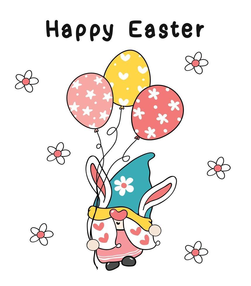 lindo conejito de pascua orejas gnomo sostener huevos globos en color pastel primavera, feliz pascua, linda caricatura ilustración doodle dibujo contorno vector clipart