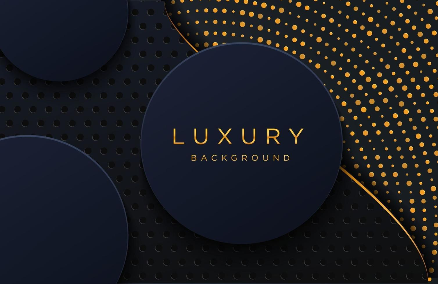 Luxury elegant background with shiny gold dotted pattern isolated on black. Abstract realistic papercut background. Elegant Cover template vector