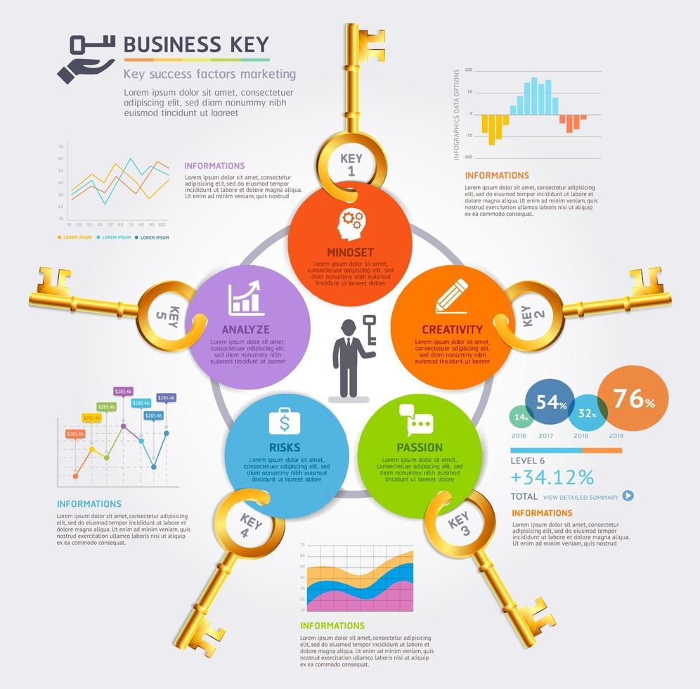 Business key concept infographics design template. Vector illustration. Can be used for workflow layout, diagram, number options, start-up options, web design.