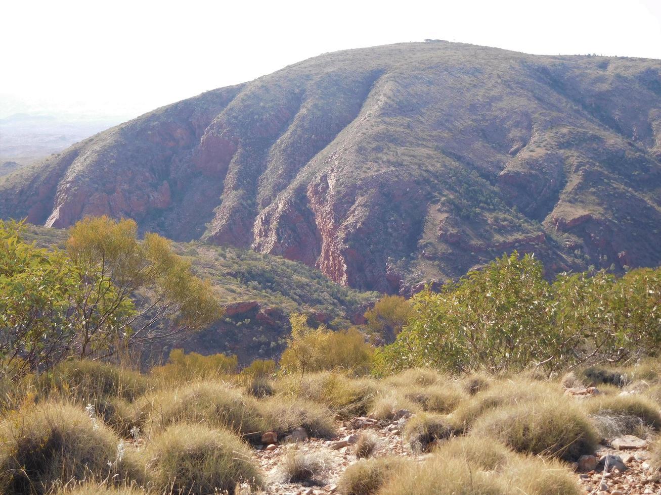 Vista de una enorme montaña erosionada en Australia central foto